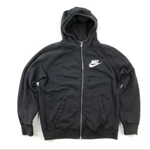 Nike boy girl gray sweatshirt zip jacket hoodie L